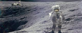 Charle M. Duke at Plum crater during Apollo 16