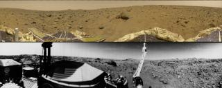 Two panoramas from Mars, Pathfinder and Viking 1
