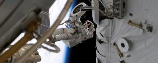 Franklin R. Chang-Diaz during space station EVA, STS-111