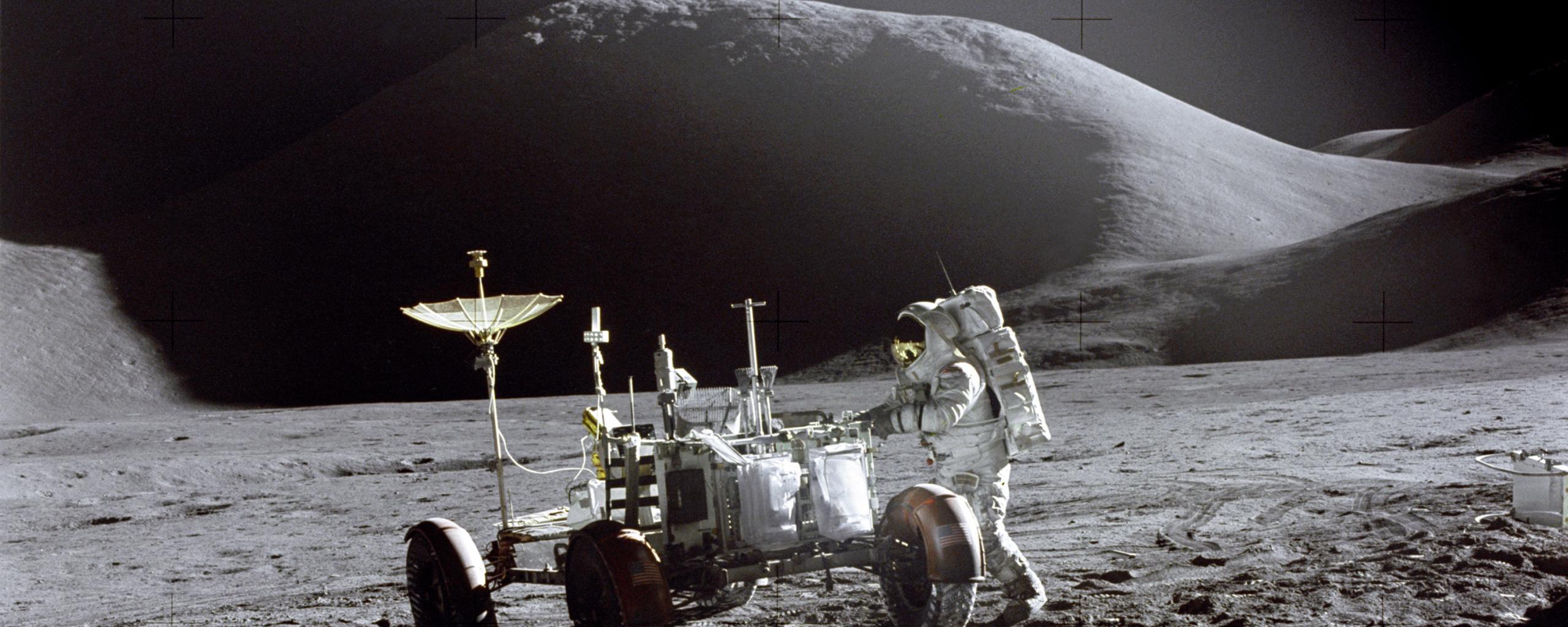 James B. Irwin next to lunar rover, Apollo 15